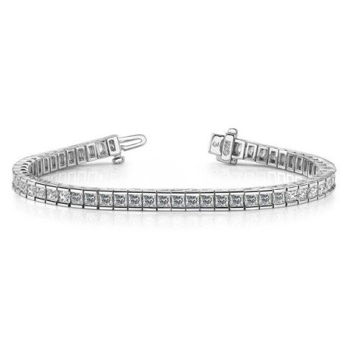White Gold Tennis Bracelet Princess Cut Diamond Bracelet Channel Set
