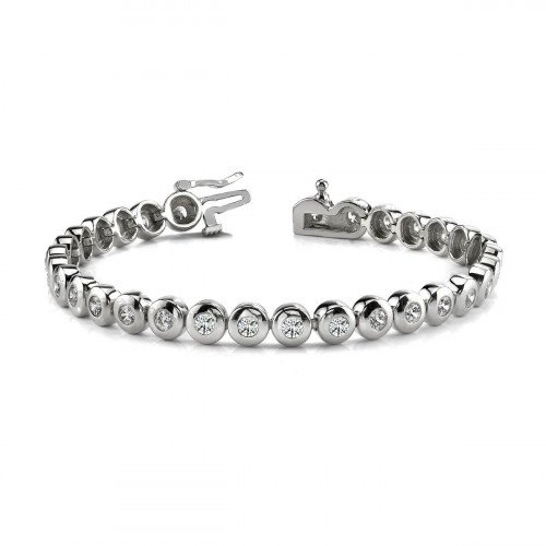 Gold Diamond Tennis Bracelet Round Brilliant Cut Line Bezel Set