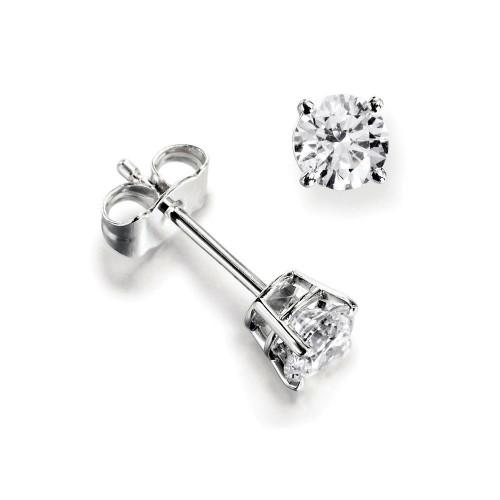 Platinum & Yellow/White Gold Single Diamond Stud Earrings For Men