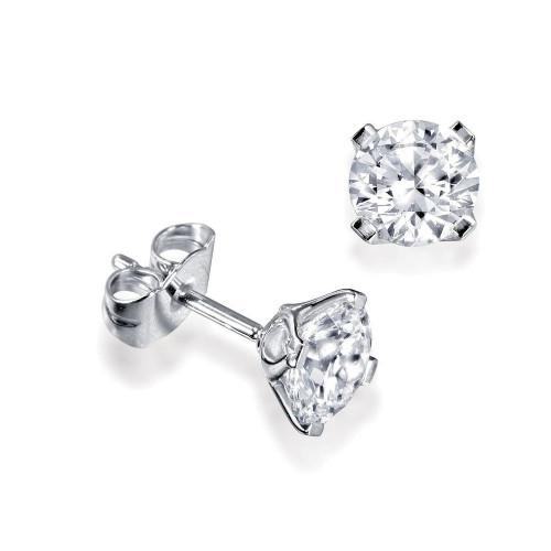 Platinum, 18ct & 9ct Gold Single Diamond Stud Earrings For Men
