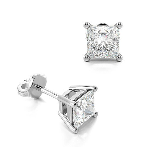 Princess Single Diamond Stud Earrings For Men for women