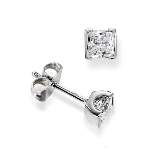 Tension Set Princess Single Diamond Earrings For Men for women