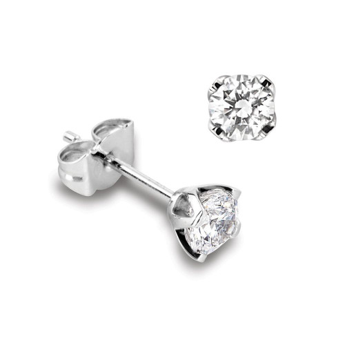 Genuine Diamond Stud Earrings in White Gold and Platinum