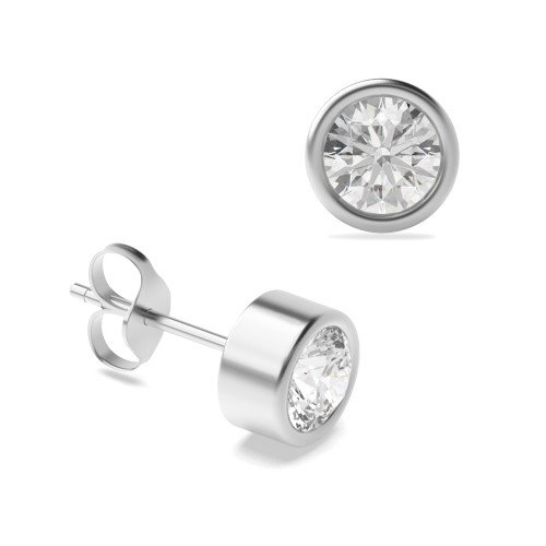 Bezel Set Platinum or Gold Diamond Stud Earrings Diamond