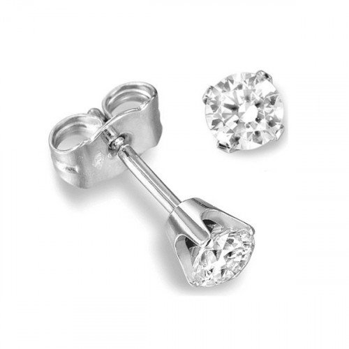 Prong Setting Diamond Stud Earrings White Gold in Round Shape