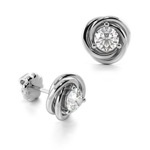 Prong Setting Tri Colour Round Diamond Stud Earrings