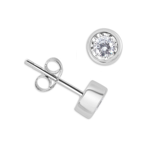 Bezel Setting Illusion Set Round Diamond Stud Earrings