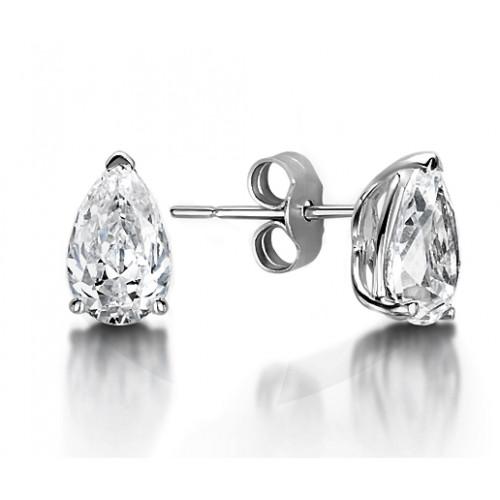 Pear Shape Tear Drop Platinum & Gold Diamond Stud Earrings