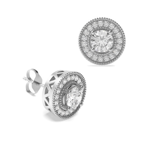 Round Shape Diamond Halo Earrings Availabe in Gold and Platinum