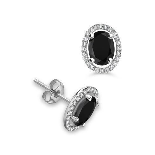 4 Claws Oval Stud Halo Black Diamond earrings
