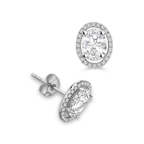 Classic Style Oval Shape Stud Diamond Halo Earrings