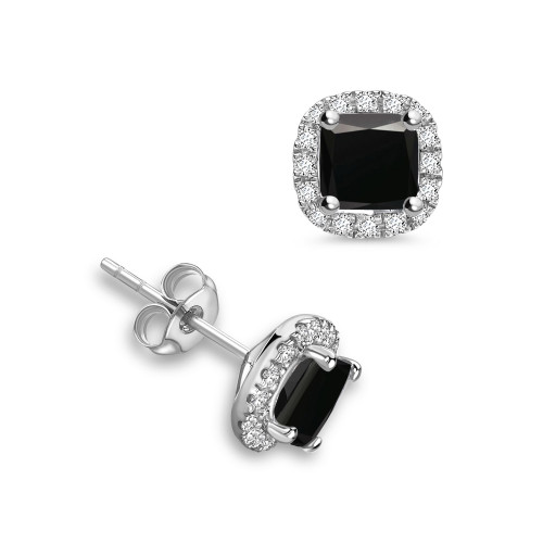 Princess Diamond Halo Black Diamond earrings