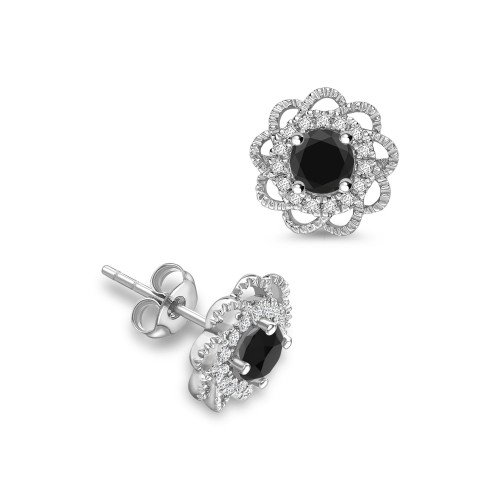Round Shape Flower Style Black Diamond earrings