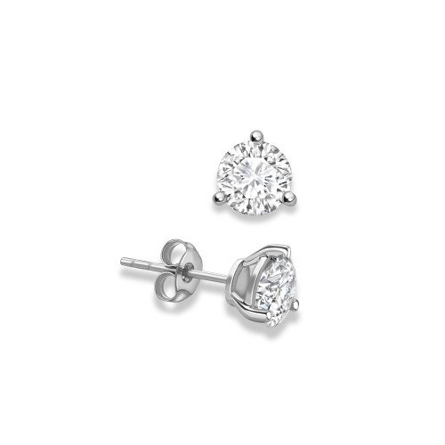3 Claws Classic Design Round Stud Diamond Earrings Available in Rose, White, Yellow Gold and Platinum