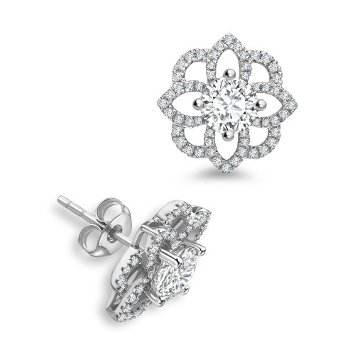 Round Diamond designer Halo Diamond Earrings Available in Rose, White, Yellow Gold and Platinum