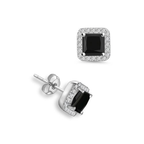 Princess Shape Square Diamond Halo Black Diamond earrings