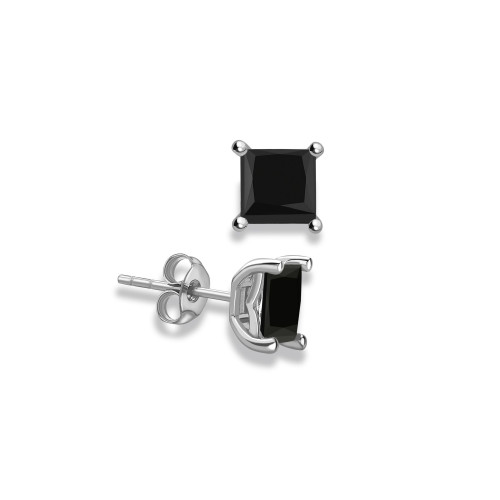 Princess Shape Stud Black Diamond earrings