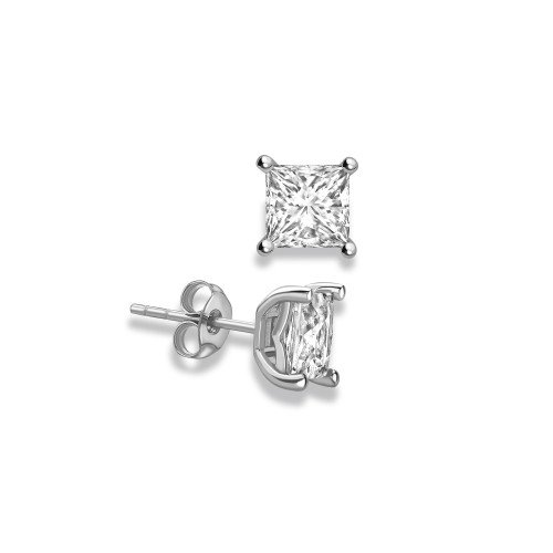 Princess Shape Stud Diamond Earrings Rose, Yellow, White Gold and Platinum