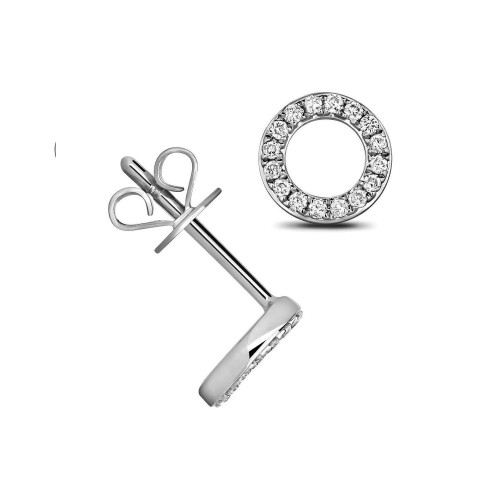0.15 Carat Circle Shape Cluster Diamond Cluster Earrings (7.0mmX7.0mm)