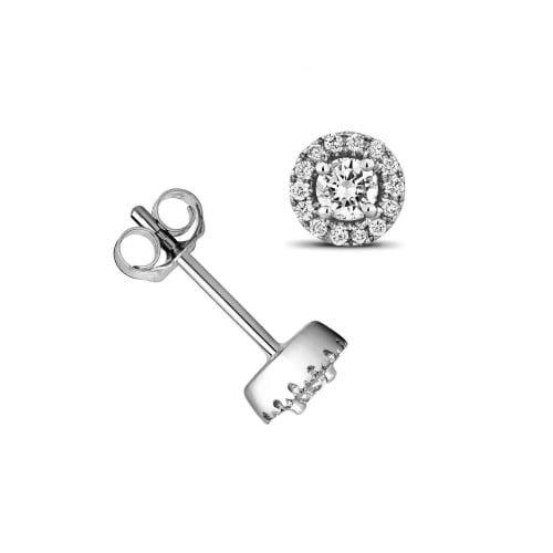 1/4 Carat Round Shape Halo Diamond Cluster Earrings (5.0mmX5.0mm)