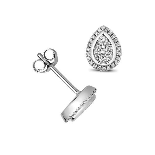 1/4 Carat Pear Shape Halo Diamond Cluster Earrings (8.0mmX6.0mm)