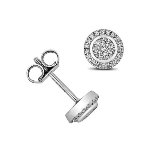 1/4 Carat Round Shape Halo Diamond Cluster Earrings (7.0mmX7.0mm)