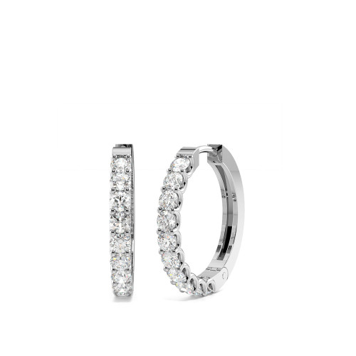 4 Prong Setting Round Diamond Women Hoop Earrings (15.0mm)