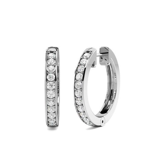 Pave Setting Popular Classic Round Diamond Hoop Earrings (17.30mm X 2.50mm)