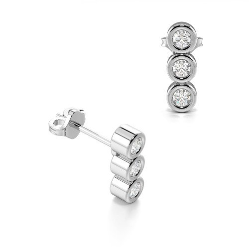 Bezel Setting Round Three Diamond Vertical Stud Earrings (7.50mm X 2.50mm)