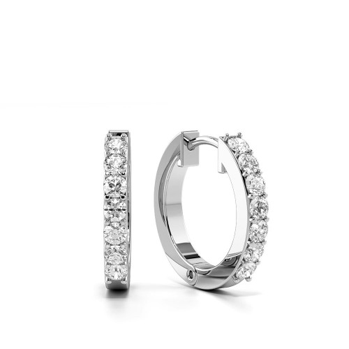 Pave Setting Classic Platinum & Gold Diamond Hoop Earrings (10.5mm)
