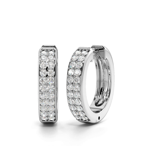 Pave Setting Round Cut Two Rows of Diamond Hoop Earrings (17.60mm)
