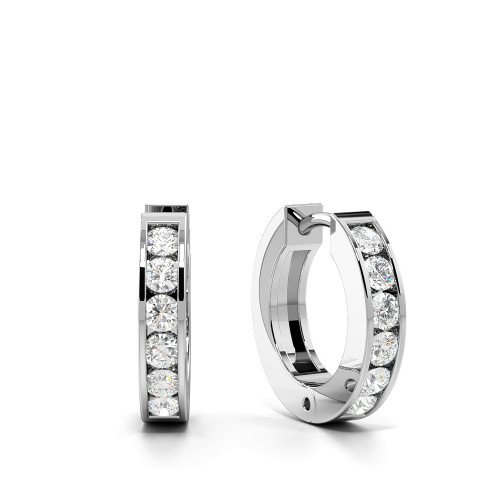 Channel Setting Round Cut Diamond Small Huggies Earrings (11.50mm)