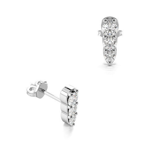 Prong Setting Three Graduating Round Diamond Stud Earrings (6.2mm X 2.10mm)