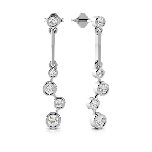 Bezel Setting Round Shape Graduating Diamond Designer Earrings (25.0mm X 4.70mm)