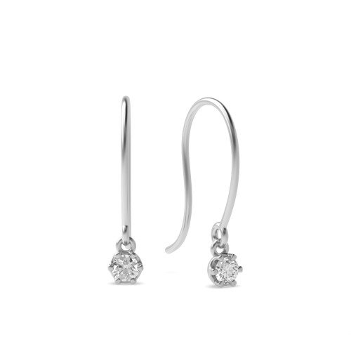 Bezel Setting Round Diamond Wire Hook Drop Stud Earrings (3.20mm)