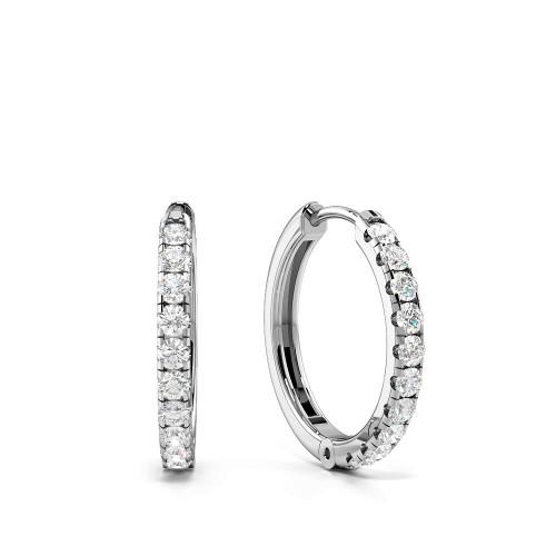 Delicate Round Diamond Clip on Diamond Hoop Earrings (14.80mm X 15.30mm)