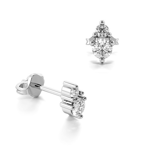 Prong Setting Round Shape Double Diamond Stud Drop Earrings (4.30mm X 2.60mm)