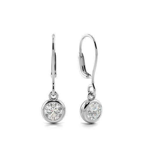 Bezel Setting Round Shape Leverback Dangle Diamond Drop Earrings  (6.80mm X 5.70mm)