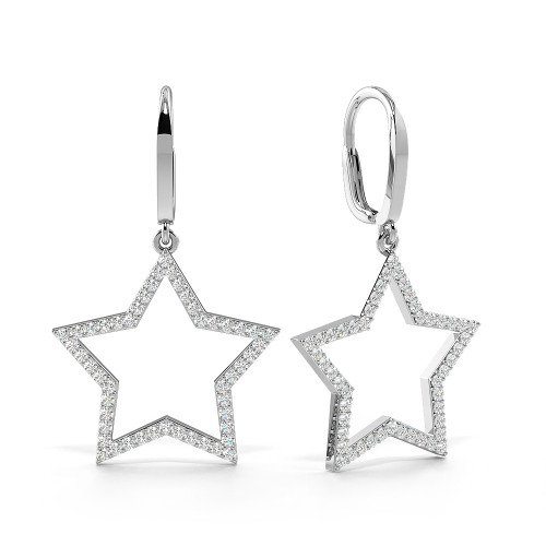 Pave Setting Round Shape Leverback Star Diamond Drop Earrings  (22.40mm X 21.60mm)
