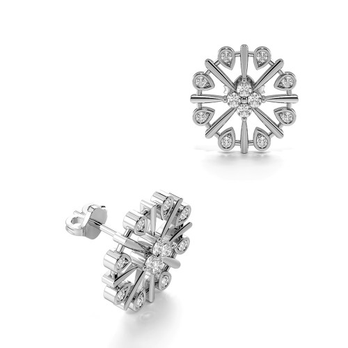Bezel Setting Round Shape Decorative Circle Designer Diamond Stud Earrings (16.0mm)