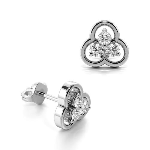 3 Prongs Round Shape Triple Cluster Diamond Stud Earrings (7.50mm)