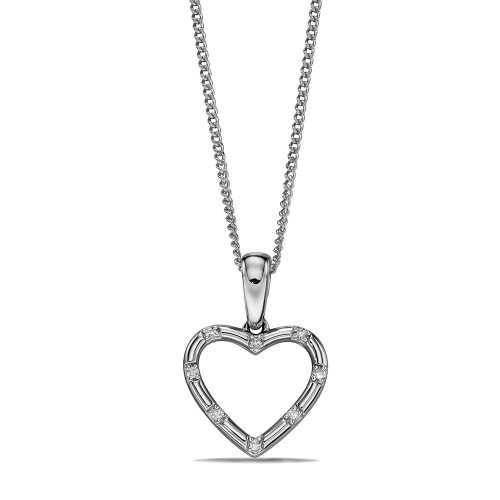 Flush Set Heart Shape Drop Diamond Necklace (16.5mm X 11mm)