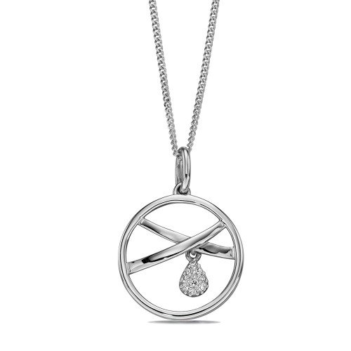 Hoopla Pendant with Tear Drop Charm Diamond Necklace (14.5mm X 13mm)
