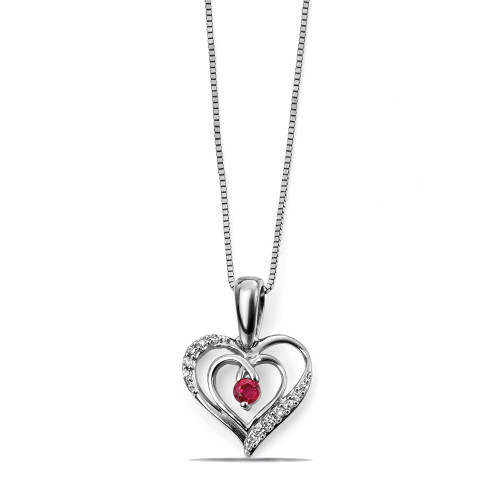 Ruby and Diamond Heart Diamond Necklace (15.5mm X 11mm)