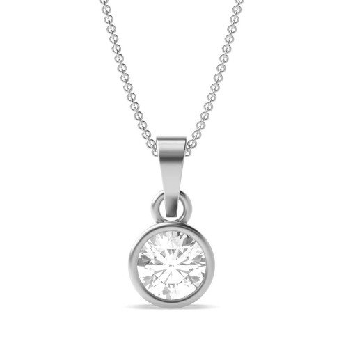 Full Bezel Prong Setting Round Solitaire Diamond Pendant