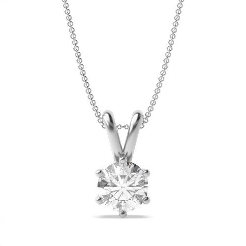 Gold Pendant Necklace for Women Round Solitaire Diamond Pendant