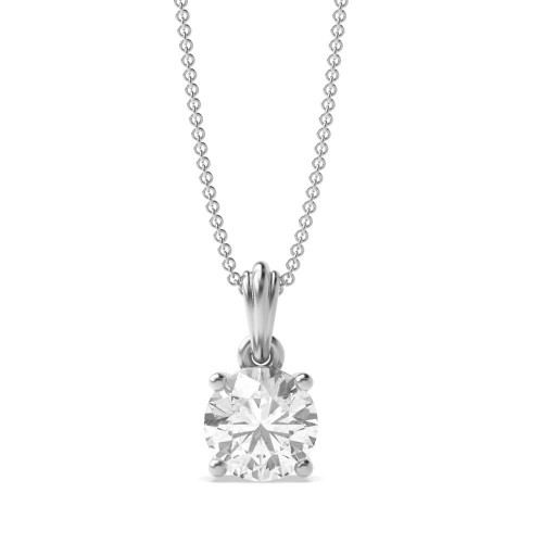 Necklace Round Solitaire Diamond Pendant for Womens
