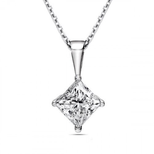 Gold Chain Princess Solitaire Diamond Pendant Necklace