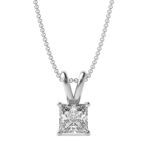 Real Gold Necklace Princess Cut Diamond Pendant Necklace for Women