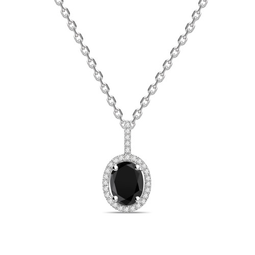 Oval Shape Halo Style Black Diamond Solitaire Pendants Necklace